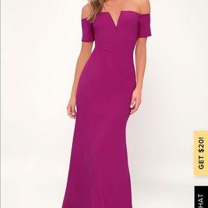 Lulus Lynne Magenta Off the shoulder dress